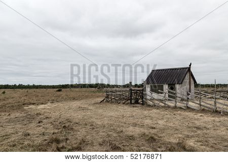 Old Farm In The Gloomy Field