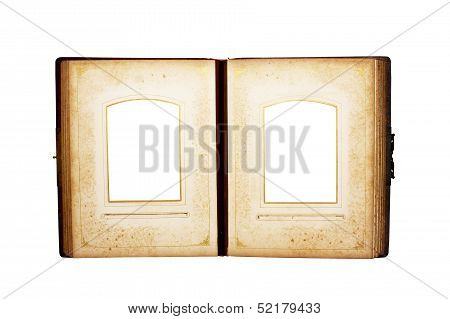 Open Antique Leather Bound Book