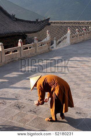 Buddhist Monk At Nanshan Temple, Wutaishan Prainting Caligraphy On Courtyard