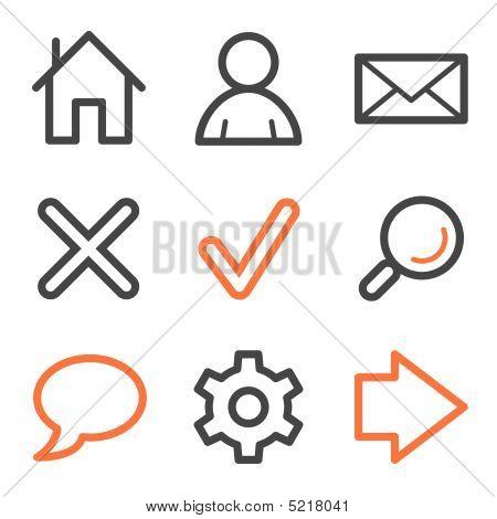 Basic Web Icons, Orange And Gray Contour Series