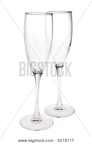 Pair Of Empty Champagne Glasses