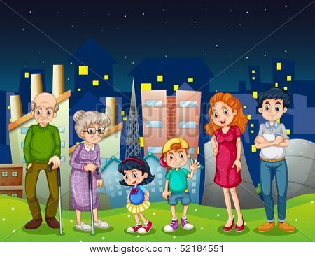 Illustration of a family at the city standing in front of the tall buildings