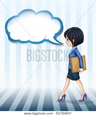 Illustration of a girl walking with an empty callout on a white background