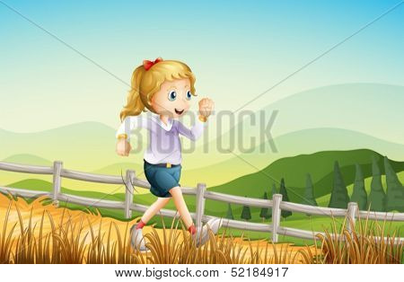 Illustration of a girl running at the farm