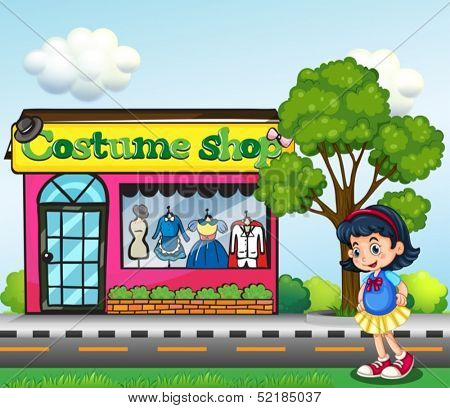 Illustration of a small girl across the costume shop
