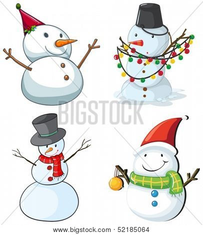 Illustration of the four snowmen on a white background