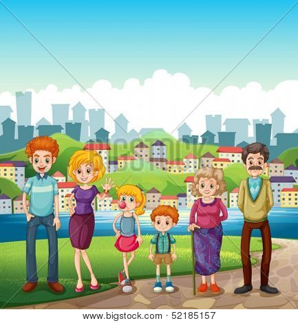 Illustration of a family at the riverbank