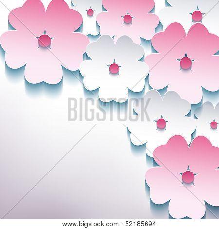 Stylish Background With 3D Flower Sakura