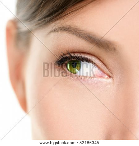 Eye Close-up looking to side. Closeup portrait of female eyes with beautiful green color looking sideways at empty white copy space. Mixed race Asian Caucasian women model.