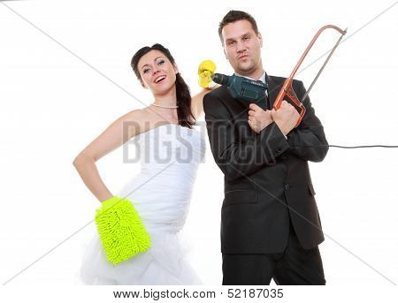 Young Couple Bride Groom Household Chores Isolated