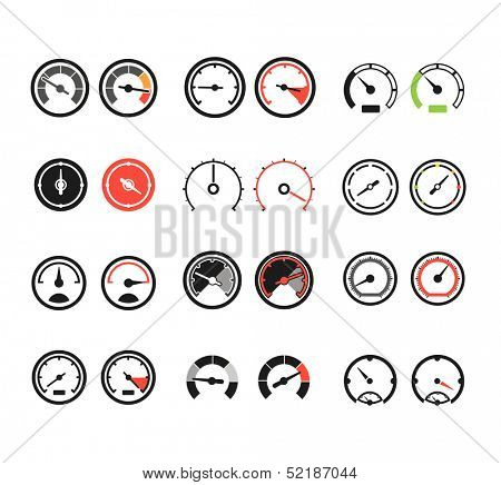 Different slyles of speedometers color vector collection