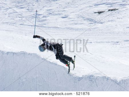 Skier On Half Pipe Of Prodollano Ski Resort In Spain