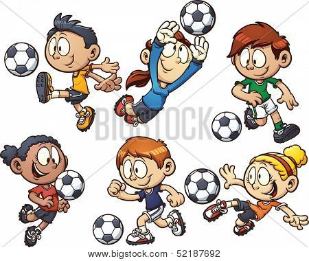 Cartoon soccer kids. Vector clip art illustration with simple gradients. Each element on a separate layer.