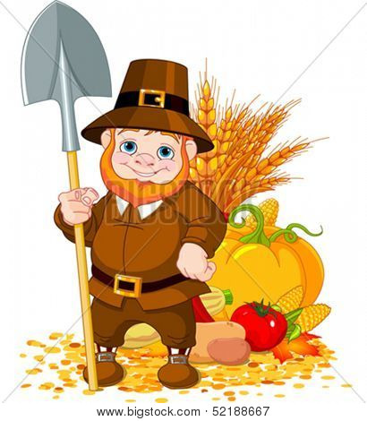 Illustration of cute pilgrim with spade