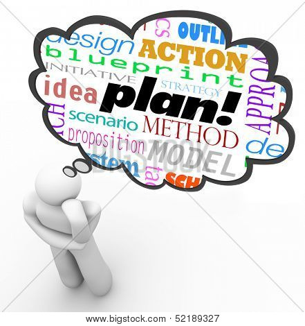 A thinker thinks about a plan with a thought cloud containing words like idea, blueprint, initiative, strategy and more