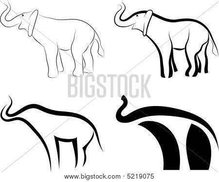 Collection Of Elephants Symbols