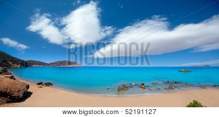 Ibiza Aigues Blanques panoramic Aguas Blancas Beach at Santa Eulalia Balearic Islands of spain