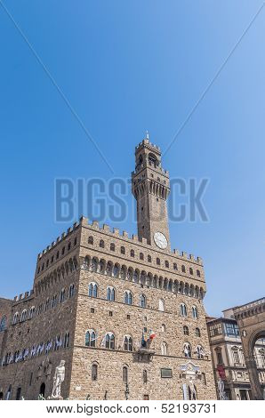 The Palazzo Vecchio, The Town Hall Of Florence, Italy.