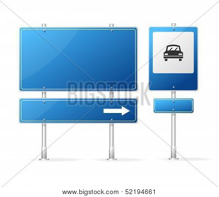 Vector Blank Blue Road Sign