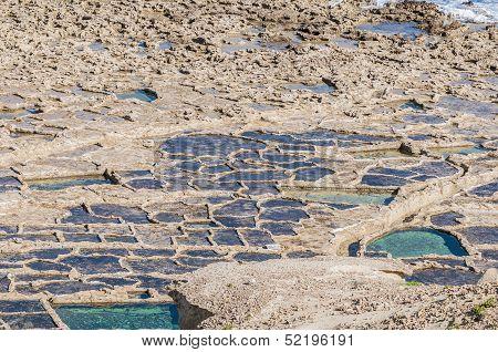 Salt Pans Near Qbajjar In Gozo, Malta.