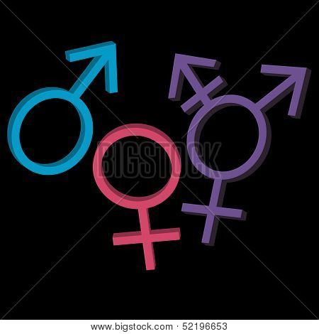 Three gender identities icons: man, woman, genderqueer