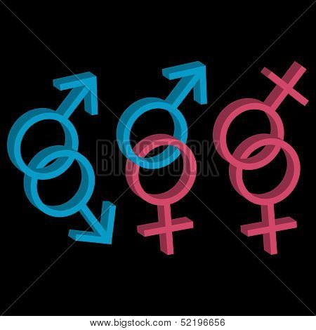 Various sexual orientations three icons