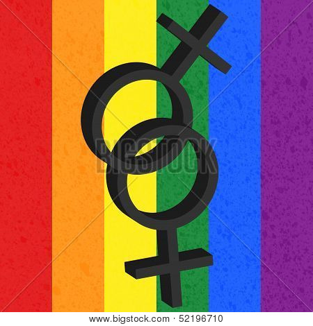 Homosexual love icon on rainbow background, female
