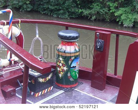 A hand painted milk churn