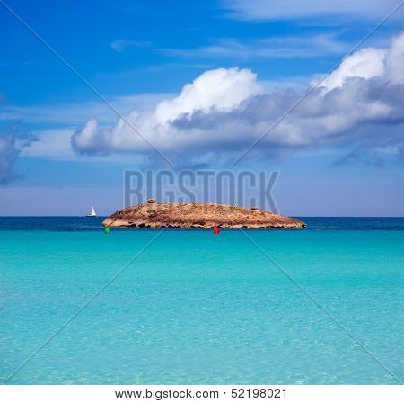 Illetes Illetas island in formentera beach at Balearic Islands of spain