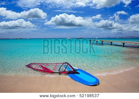 Formentera ibiza ses Illetes beach with windsurf on shore sand