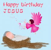 pic of manger  - Happy birthday baby jesus  - JPG