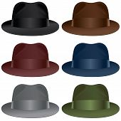 stock photo of fedora  - A fedora hat selection in black gray burgundy olive blue and brown colors - JPG