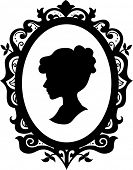 stock photo of cameos  - Black and White Illustration of a Cameo Featuring the Silhouette of a Woman - JPG