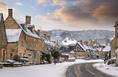 image of broadway  - Cotswold village of Broadway in snow - JPG