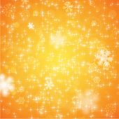 Elegant Christmas Background with Snowflakes, Orange version, vector