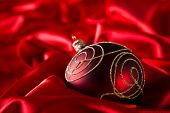 picture of ball cap  - Red luxury satin with christmas balls - JPG