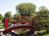 Red Japanese Garden Bridge