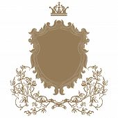 picture of doilies  - Elegant gold frame banner with crown floral elements on the ornate background - JPG