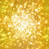 stock photo of glitter  - Glittering stars on golden glittering background - JPG