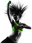 stock photo of dancing  - one caucasian woman exercising fitness dancing  in silhouette  on white background - JPG