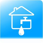 picture of spigot  - tap spigot with drop and house on light blue water background - JPG