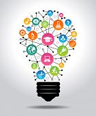 The concept of effective education. Light bulb with colorful education icon. File is saved in AI10 E