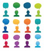 stock photo of avatar  - Set Head Silhouette with speech bubble - JPG