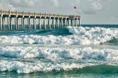 foto of gulf mexico  - HIgh surf day preceding tropical storm - JPG