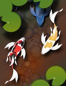 stock photo of koi fish  - Stylized butterfly koi fish swimming in a pond with lily pads - JPG