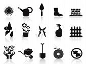 Black Garden Icons Set