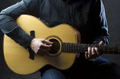 stock photo of guitarists  - Detail of man playing acoustic guitar - JPG