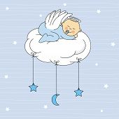 stock photo of christening  - baby girl dressed angel sleeping on a cloud - JPG