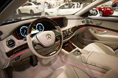 ANAHEIM, CA - OCTOBER 3: The interior of a Mercedes SL 550 on display at the Orange County Internati