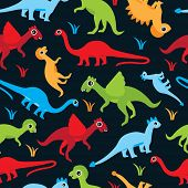 foto of pterodactyl  - Seamless colorful dinosaur kids illustration background pattern in vector - JPG
